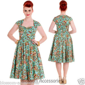RKP79-Hell-Bunny-Sasha-Turquoise-Flowers-Rockabilly-Dress-Retro-Pin-Up-50s-Plus