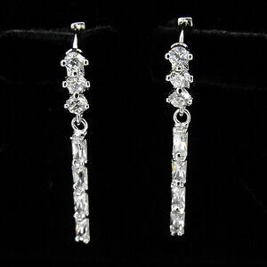 Wedding-Bridal-Party-Lady-18K-W-GP-Dangle-Earrings-Costume-Jewelry-CZ-Clear-341