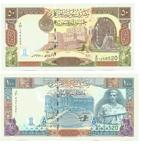Syria 50 /& 100 Syrian Pounds 1998 Set of 2 Banknotes P-107 /& P-108 UNC