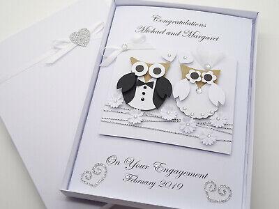 Personalised Handmade Card Wedding Day Anniversary Engagement 3D Gift Box