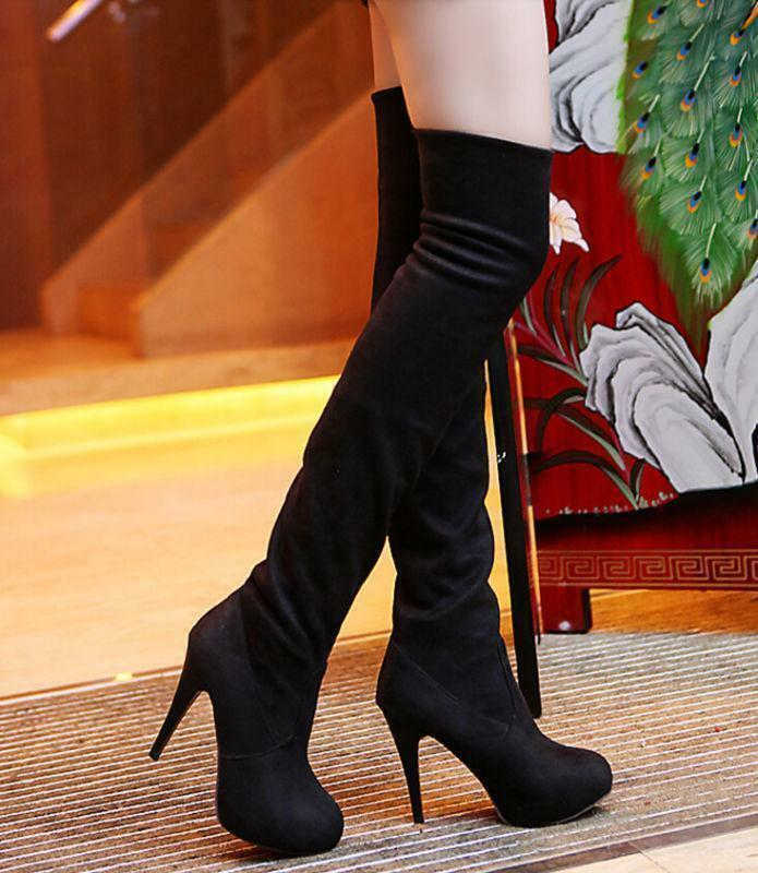 Sexy women knee high boot heel stiletto Pull On Casual party platform shoes long