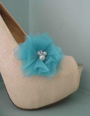 2 Azul anotó Clips Para Zapatos Con Perla Y Diamante Centro