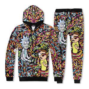 Men//Women Rick and Morty Sweatershirt Full Printed Hooded Sweater Jogger Pants