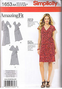 Misses Stretch Knit Mock Wrap Dress Side Ties Sewing Pattern Size 10 12 14 16...