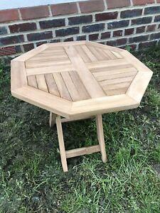 Détails sur HEXAGONALE PLIANTE de JARDIN/picnic table en bois massif.  50x50x50cm- afficher le titre d\'origine