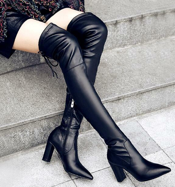 donna Real Leather Pointed Toe Thigh High Over Knee Riding stivali Heels scarpe G5