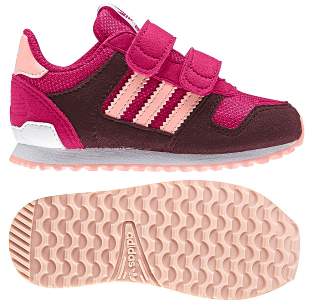 newest 0f9dd ae9f7 Adidas Originals Infant Girls Zx Flux Trainers Pink Aubergine New and Boxed
