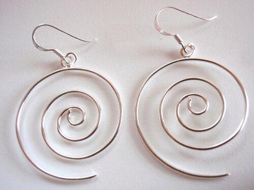Spiral Earrings 925 Sterling Silver Dangle Corona Sun Jewelry