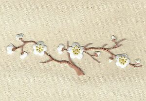 Large quince white flowers blossom brown stem iron on applique