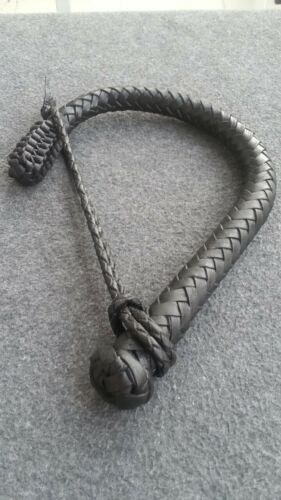 Genuine Leather Short Volchatka Bull whip With A Cable Inside And Braided Knot