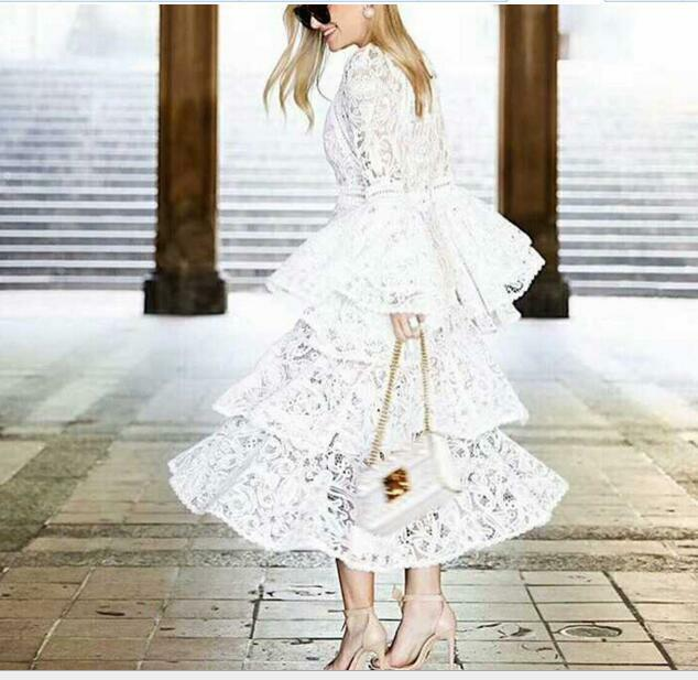 Hot 2018 New New New Occident Speaker Sleeve Fashion Runway Cake Style Women White Dress 62e27f