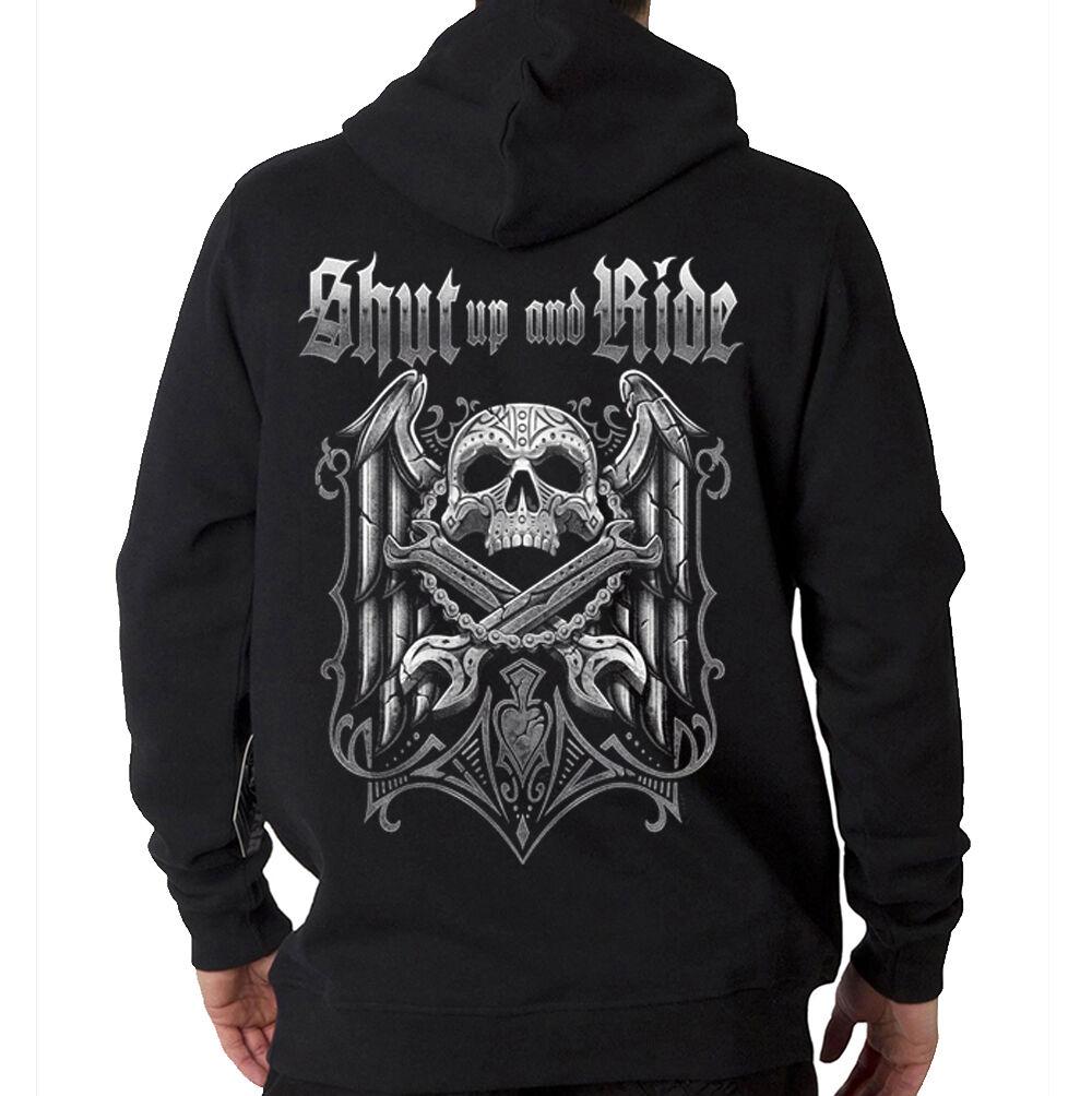Shut Up And Ride Bikers Creed Skull & Wrenches Hooded Sweatshirt Hoodie