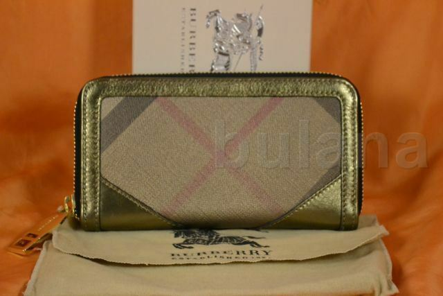 Obliging Burberry Iconic Metal Check Large Ziggy Zip Around Wallet Nwt
