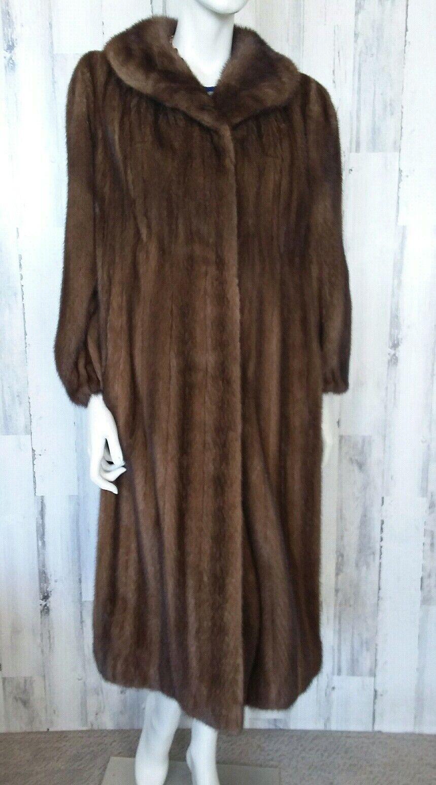 H Bernhard brown premium qulity Real mink Fur long Coat sz L