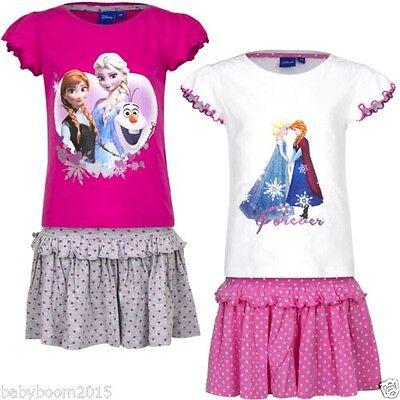 Temperato Abito Ragazza Abito Estivo Frozen Elsa Volant Gonna Gonna Volant Gonna + Tshirt Set-mostra Il Titolo Originale Forte Imballaggio