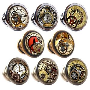 Image is loading Zinc-Alloy-Knobs-Ste&unk-30mm-Cupboard-Drawer-Door-  sc 1 st  eBay & Zinc Alloy Knobs Steampunk 30mm Cupboard Drawer Door Handles ...