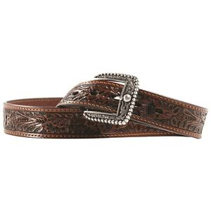 ARIAT-Brown-Tooled-LEATHER-BELT-Silver-Buckle-WESTERN-Cowboy-A10009391-17