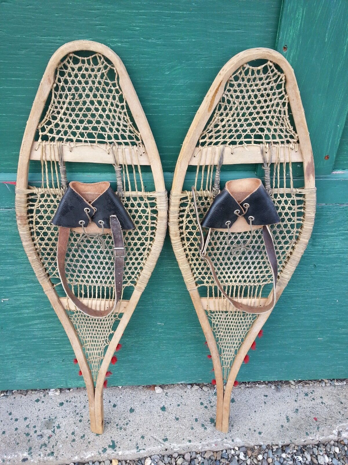 GREAT Set of Snowshoes 36  Long by 11  Wide with OLD Leather Bindings