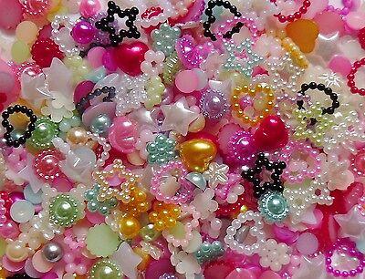 "75pcs x 3D Resin Nail Art/Craft Mix ""Pearls"" Flowers,Hearts,Bows,Star Flat Back"