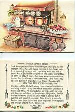 VINTAGE OVEN HOURGLASS COFFEE BOSTON BAKED BEANS PRINT 1 SCOTTY DOG QUILT CARD