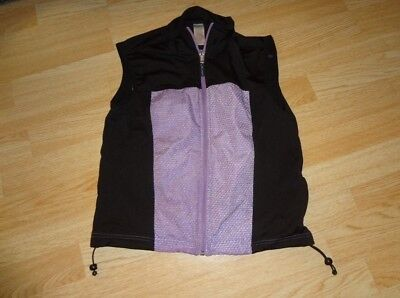 Frank Women's Curves S /p Workout Exercise Vest Shirt Purple & Black Modern Design Activewear Jackets