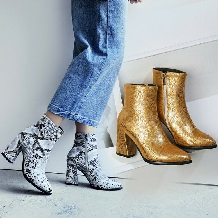 Women Block High Heel Pointed Toe Casual Ankle Boots Side Zip Snake Skion Print