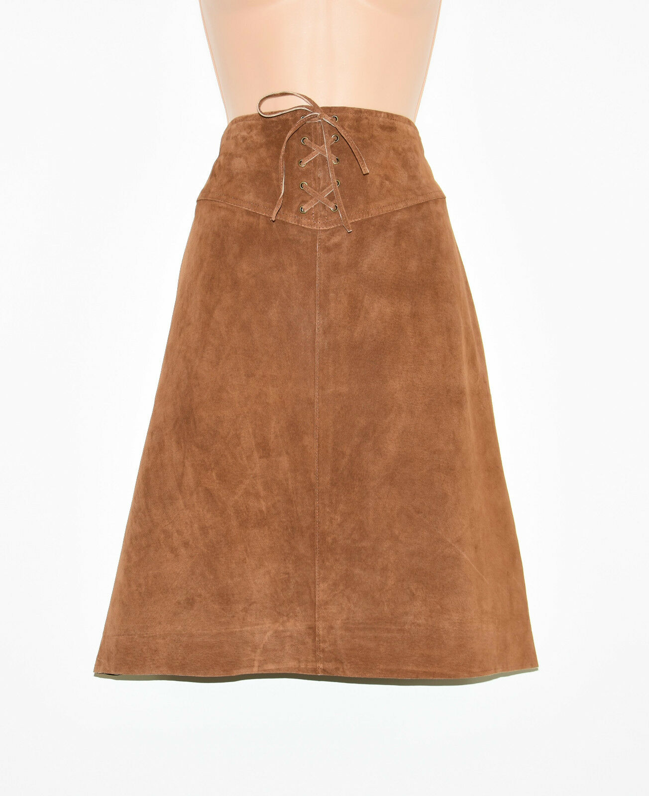 Brown Real Leather STACCATO Straight Pencil Knee Length Skirt Size UK12 L22