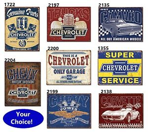 Chevrolet Only Garage Chevy Classic Car Tin Metal Sign Decor