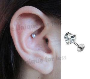 Love Heart Sparkly Tragus Bar Helix Cartilage Bar Ear Piercing