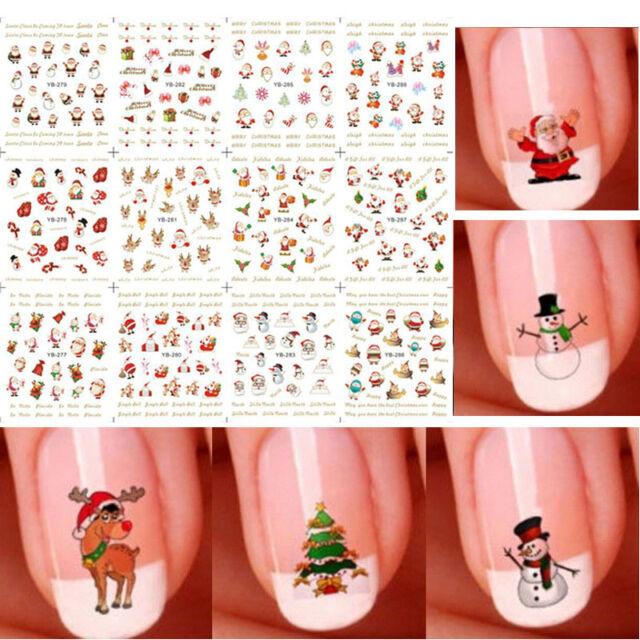 12 Sheet Christmas 3d Nail Art Stickers Snowflakes Cute Snowmen ...