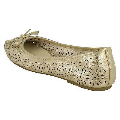 Señoras punto en Blanco/Plata/Oro Dolly Zapatos UK Tamaños 3-8 F80037