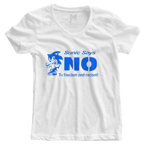 Sonic dit Non au Racisme Feminist Human Rights Womans politique T Shirt