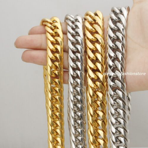 "16//20mm Huge Stainless Steel Silver//Gold Curb Cuban Chains Men/'s Necklace 7/""-40/"""