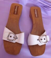 Russell & Bromley UK5 EU38 US7 new white leather wood sole clog/sandal