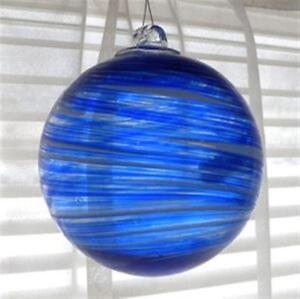 Hanging-Glass-Ball-4-034-Diameter-Blue-with-Swirls-1-Friendship-Ball-GB96