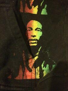 Black-Bob-Marley-Fleece-Hooded-Jacket-reggae-M-38-40
