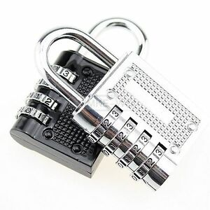 4 Dial Digit Combination Suitcase Luggage Metal Code Password Lock Padlock New