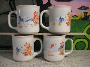 Teddy Bear & Christmas Goose with Bow - 1989 Holiday Mug Set of 4 House of Lloyd
