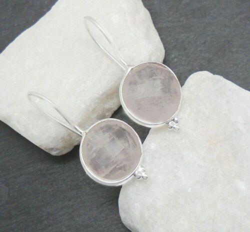 Rosenquarz rosa rose rund Design Ohrringe Ohrhänger 925 Sterling Silber neu new