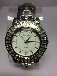 CHICO-039-s-Women-039-s-Watch-Silver-Tone-Round-Face-Gorgeous-Crystal-Bezel-New-Battery