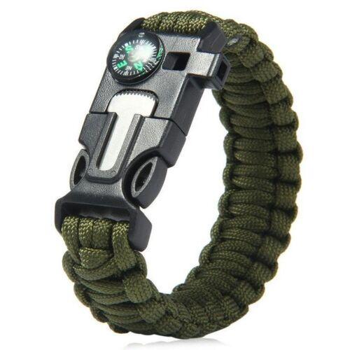 Survival Outdoor ParacordArmband mit Feuerstein Feuer starter Pfeife und Kompass