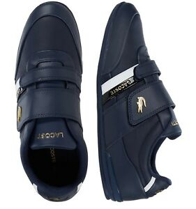 Lacoste-Men-Shoes-Misano-Strap-0120-1-Navy-Gold-Leather-Casual-Sneakers-NEW