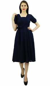 084c80671fb Bimba Women Short Sleeve Navy Blue Linen Shift Dress with Belt ...