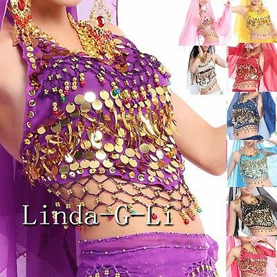 9 Colors Belly Dance Costume Handmade  Sexy Bra tops with Sequins Beads Bells