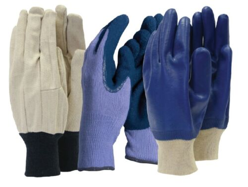 Work Gloves Triple Pack Town /& Country Mens Gardening