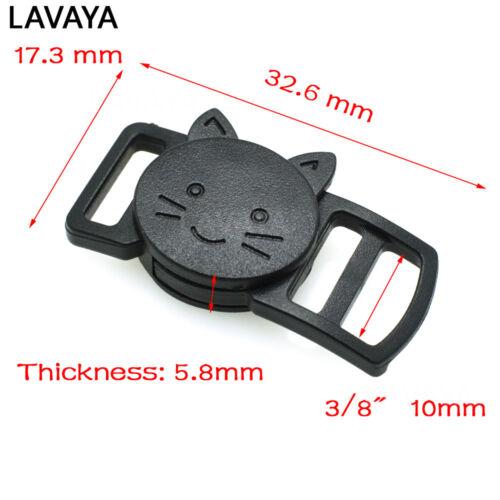 "Plastic Curved Cat-Head Safty Breakaway Buckle Black 10mm 3//8/"""