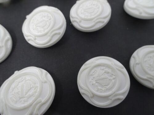 Vintage White Round Emblem Crest 3D Raised Shank Buttons 27mm Lot of 10 B94-6
