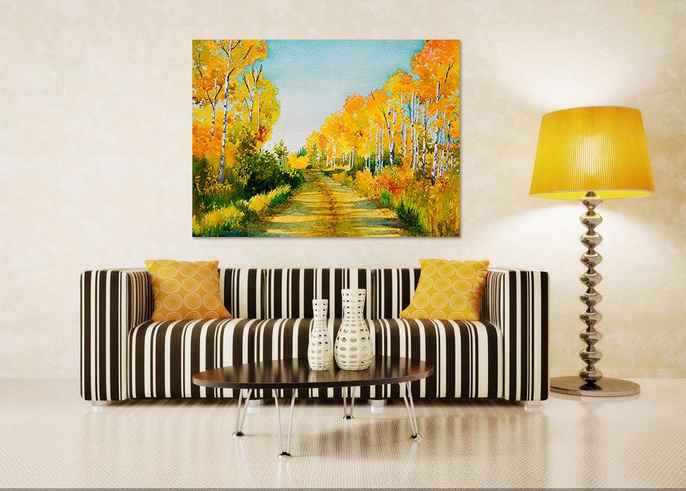 3D Goldener Holz Wiese Straße 9 Fototapeten Wandbild BildTapete AJSTORE DE Lemon