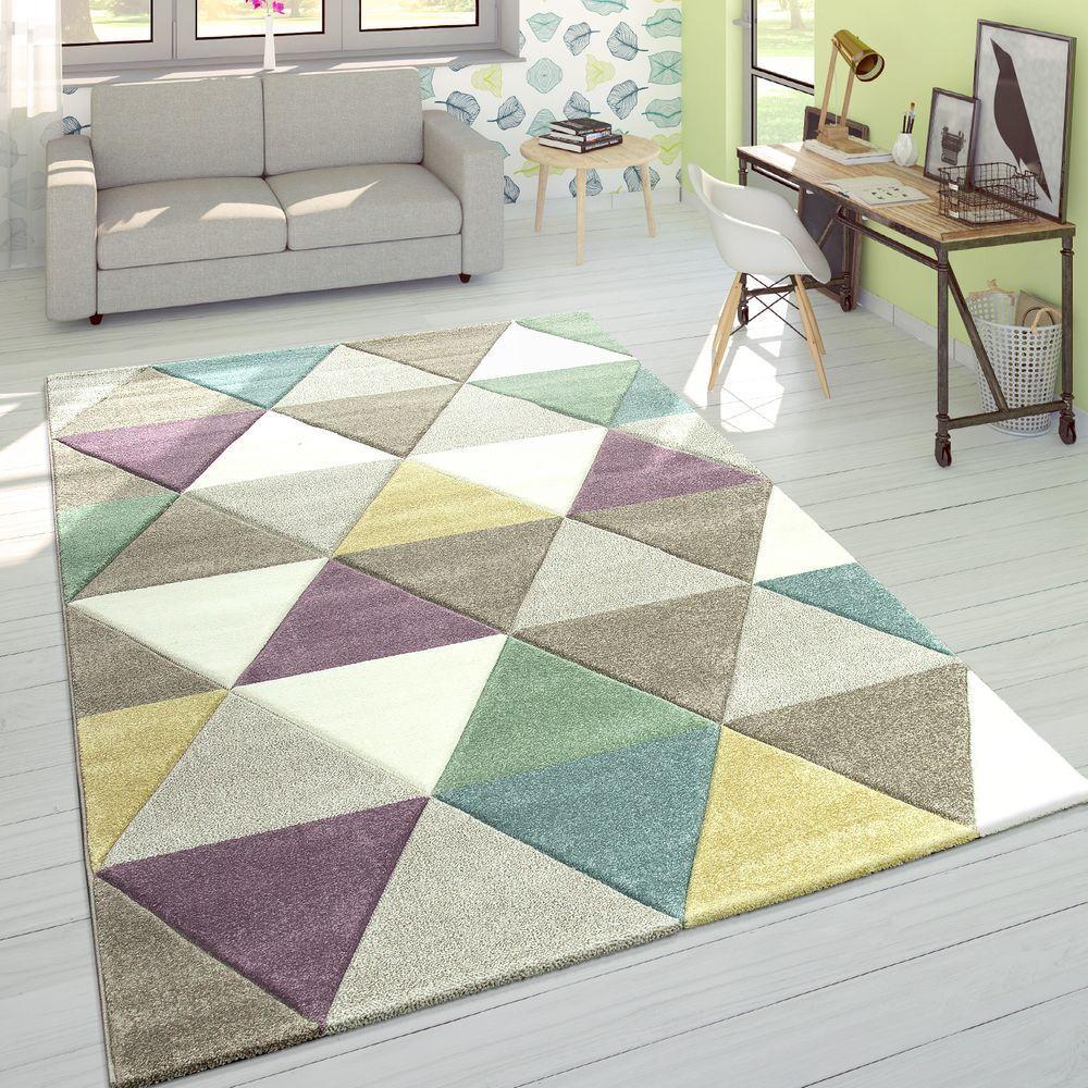 Tappeto Di Design Moderno Taglio Sagomato Coloreei Pastello A Rombi MultiColoreeee