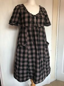 Topshop-Size-10-Purple-Checked-Gypsy-Smock-Pockets-Lagenlook-Cotton-Tunic-Dress